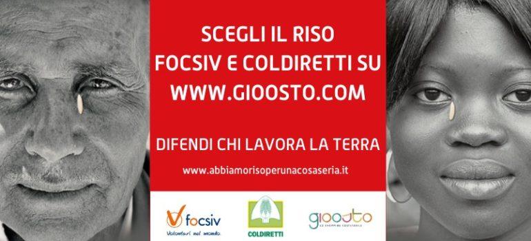 Il riso FOCSIV  e COLDIRETTI torna quest'anno sulla piattaforma GIOOSTO.COM